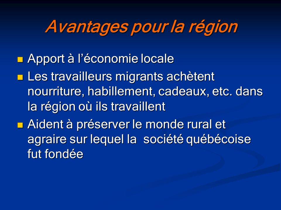 Avantages pour la région
