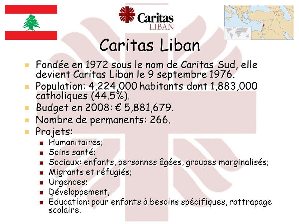 Caritas Liban Fondée en 1972 sous le nom de Caritas Sud, elle devient Caritas Liban le 9 septembre 1976.