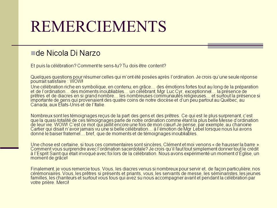 REMERCIEMENTS de Nicola Di Narzo