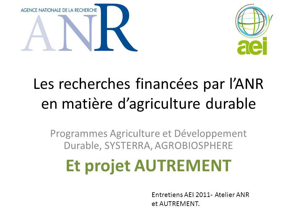 Les recherches financées par l'ANR en matière d'agriculture durable