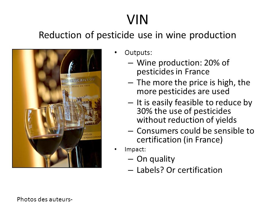 VIN Reduction of pesticide use in wine production