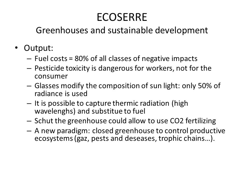 ECOSERRE Greenhouses and sustainable development