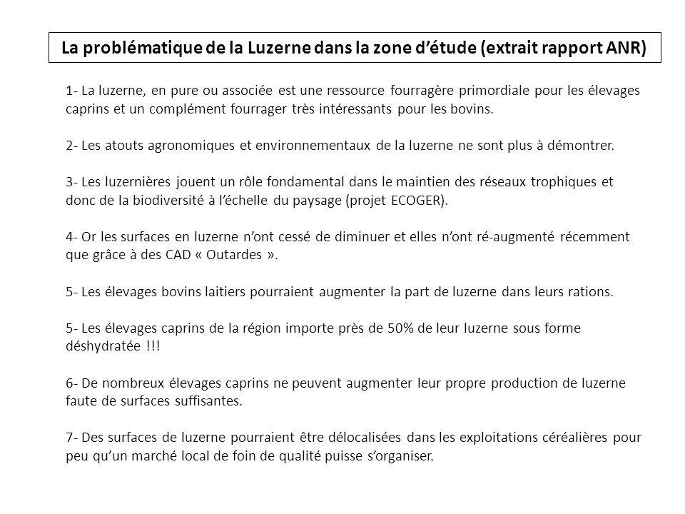 La problématique de la Luzerne dans la zone d'étude (extrait rapport ANR)