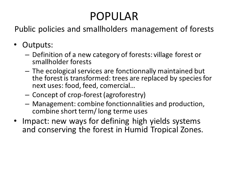 POPULAR Public policies and smallholders management of forests