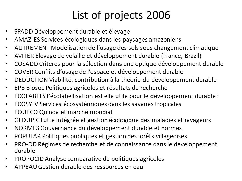 List of projects 2006 SPADD Développement durable et élevage