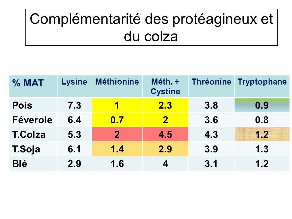 Complémentarité des protéagineux et du colza