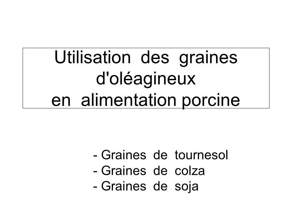 Utilisation des graines d oléagineux en alimentation porcine