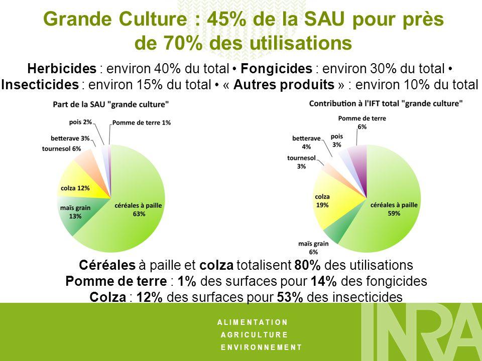 Grande Culture : 45% de la SAU pour près de 70% des utilisations