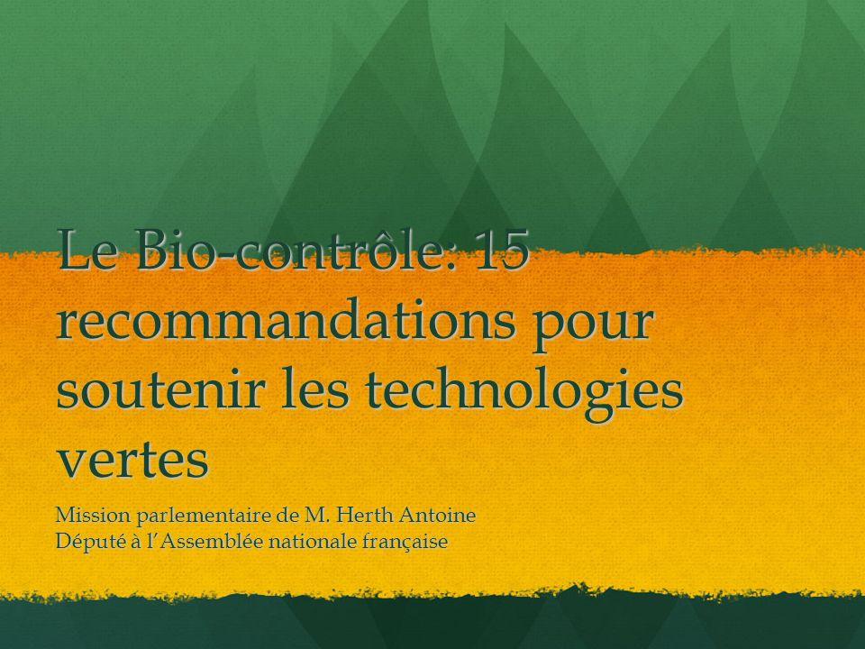 Le Bio-contrôle: 15 recommandations pour soutenir les technologies vertes