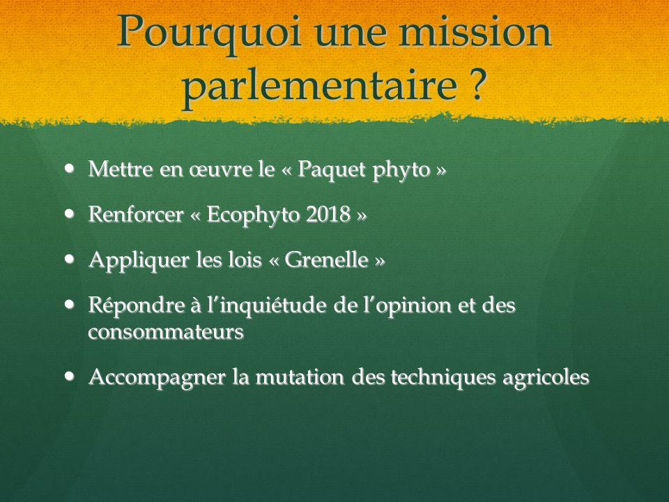 Pourquoi une mission parlementaire
