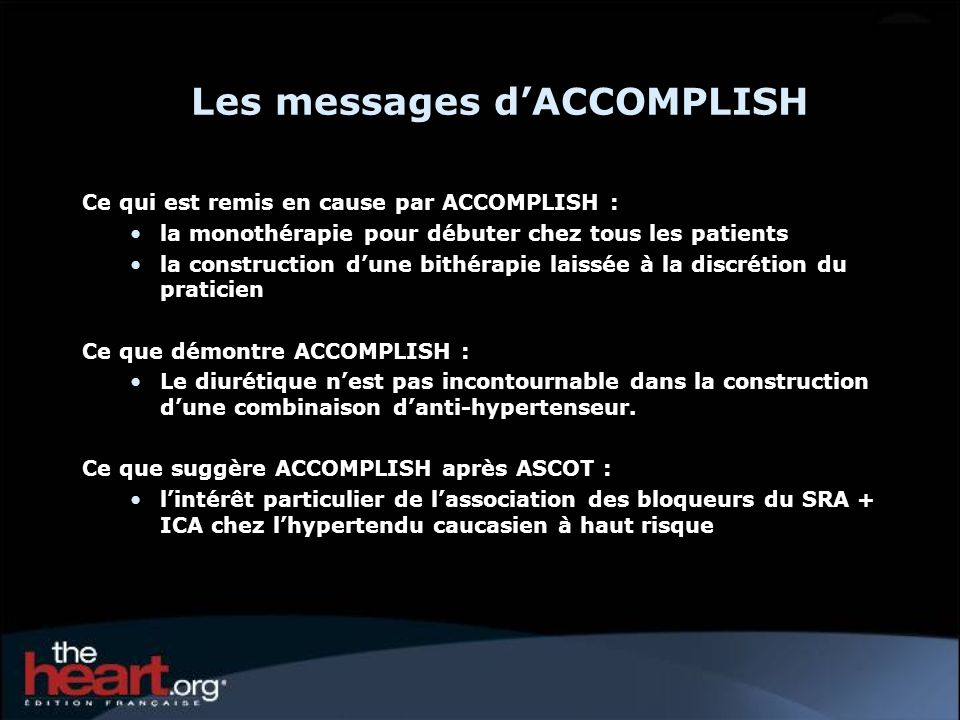 Les messages d'ACCOMPLISH