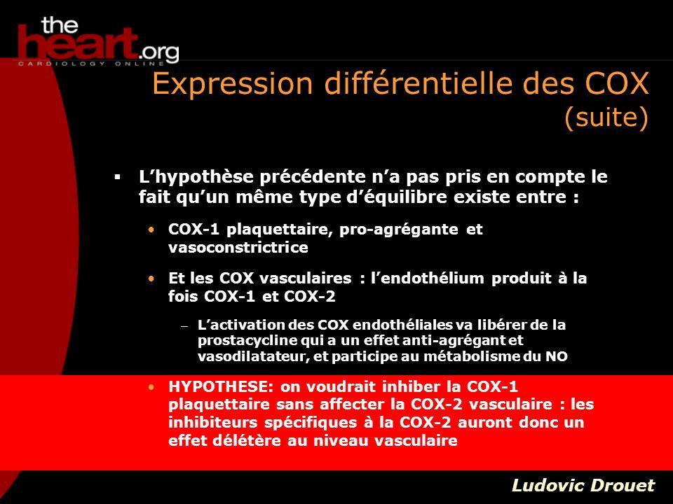 Expression différentielle des COX (suite)