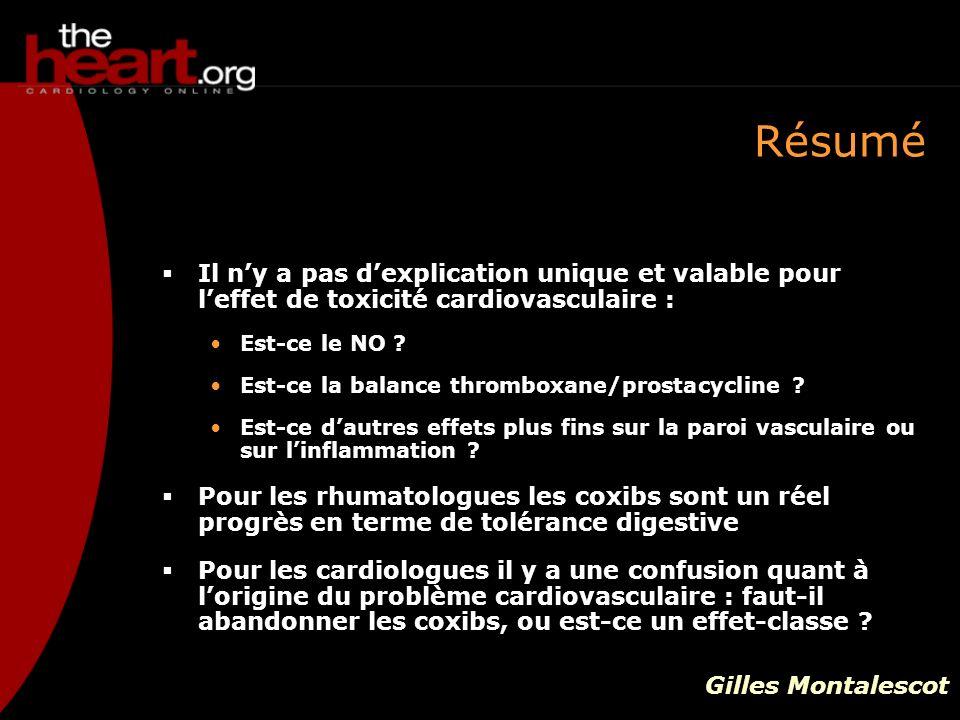 Résumé Il n'y a pas d'explication unique et valable pour l'effet de toxicité cardiovasculaire : Est-ce le NO