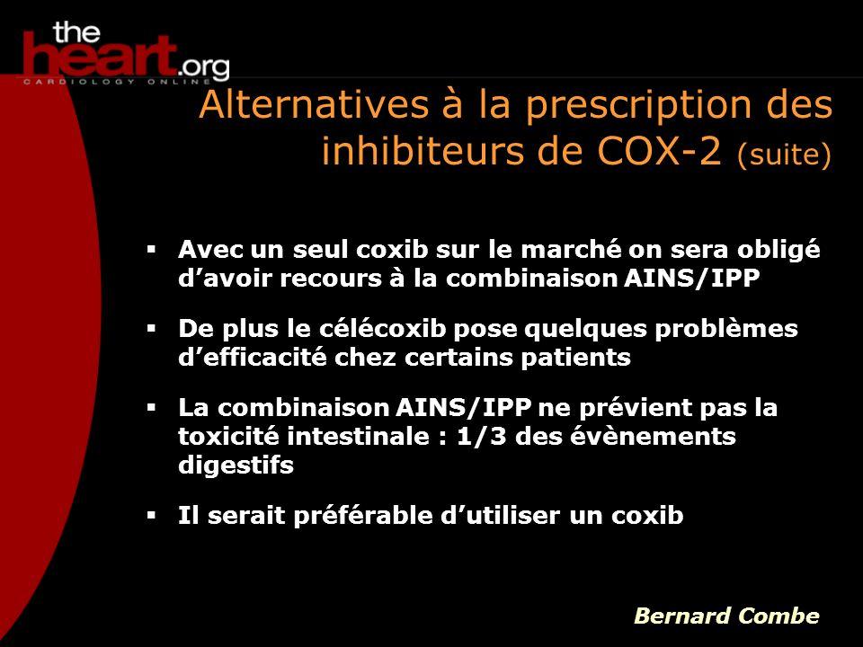 Alternatives à la prescription des inhibiteurs de COX-2 (suite)