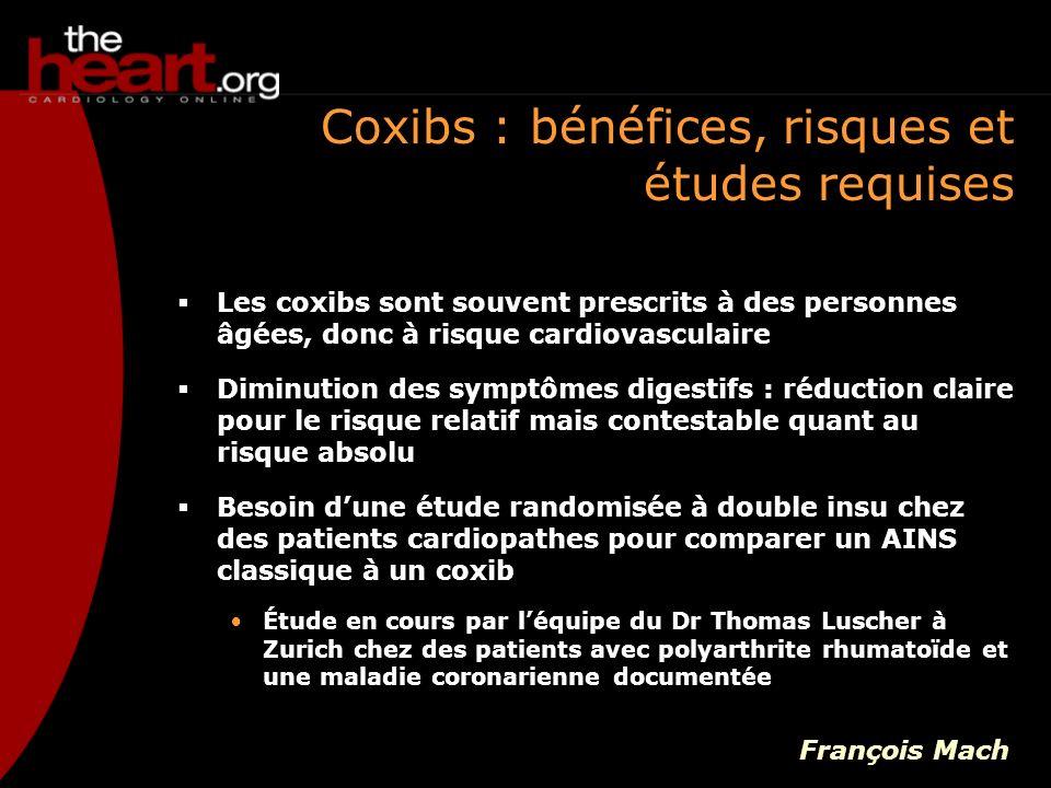 Coxibs : bénéfices, risques et études requises