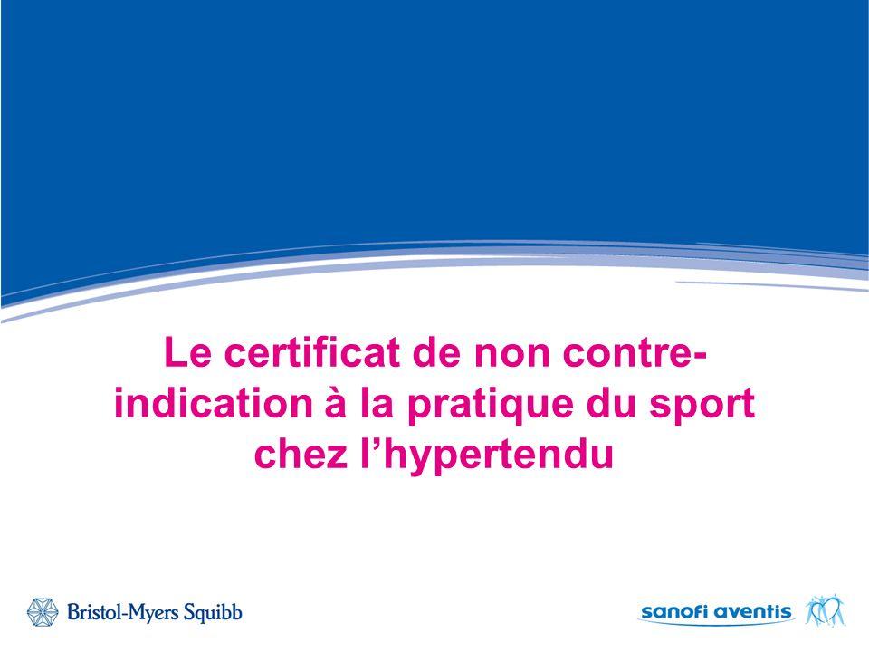 Le certificat de non contre-indication à la pratique du sport chez l'hypertendu