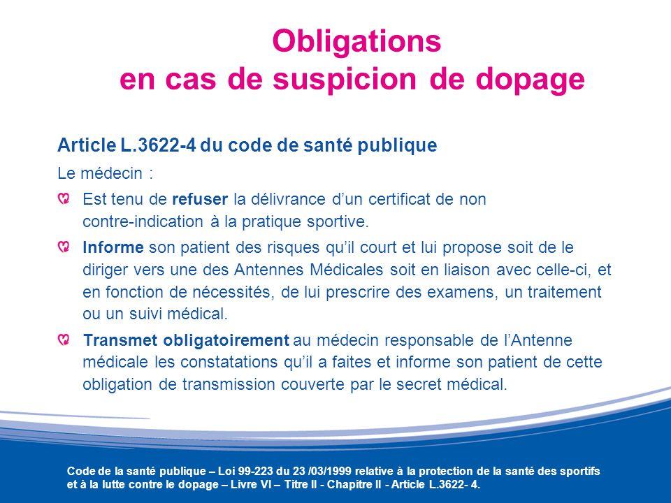 Obligations en cas de suspicion de dopage
