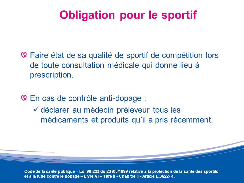 Obligation pour le sportif