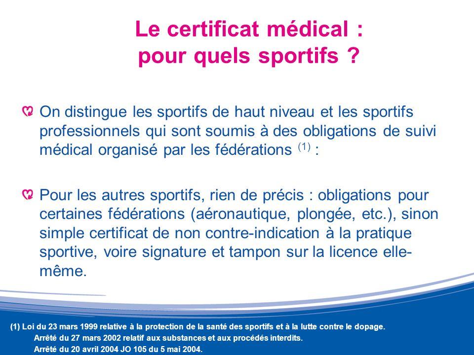 Le certificat médical : pour quels sportifs
