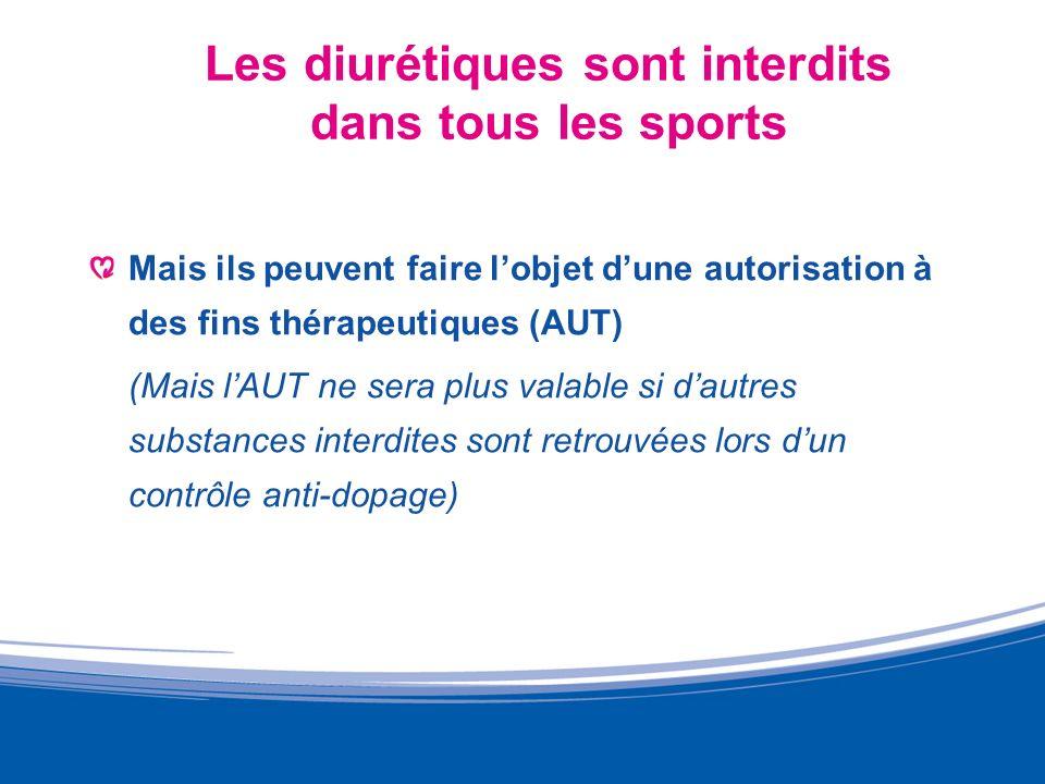 Les diurétiques sont interdits dans tous les sports