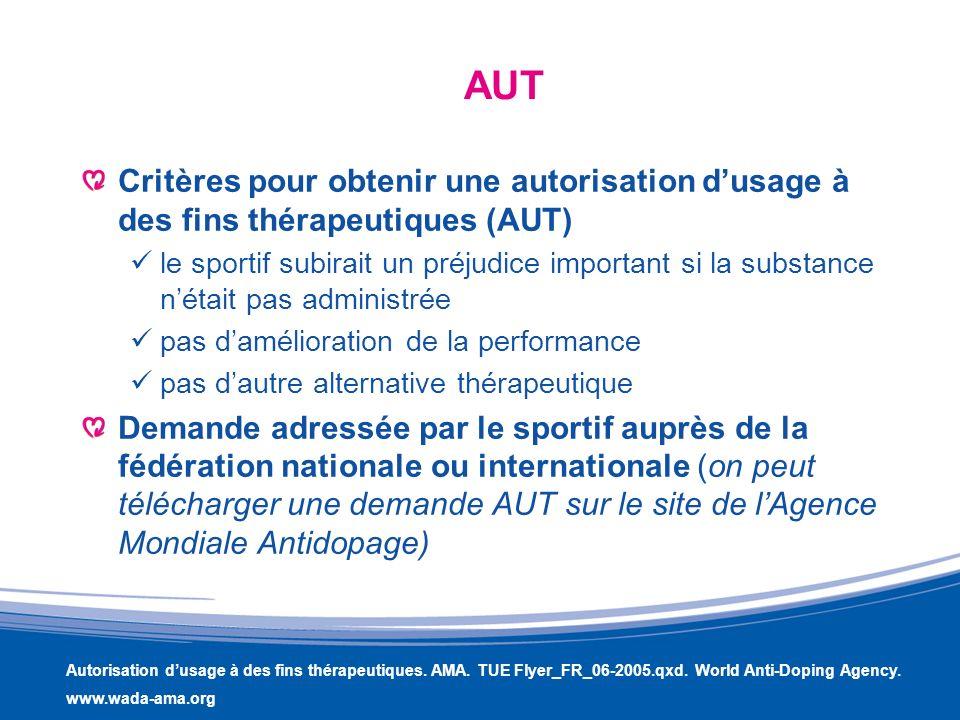 AUT Critères pour obtenir une autorisation d'usage à des fins thérapeutiques (AUT)