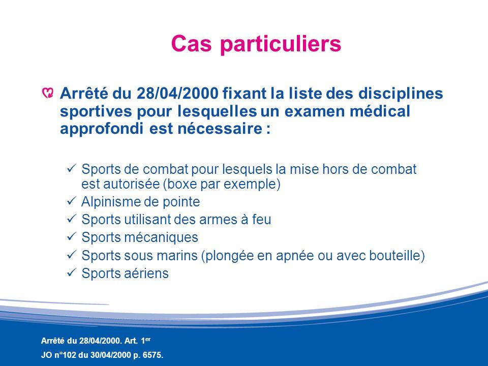 Cas particuliersArrêté du 28/04/2000 fixant la liste des disciplines sportives pour lesquelles un examen médical approfondi est nécessaire :