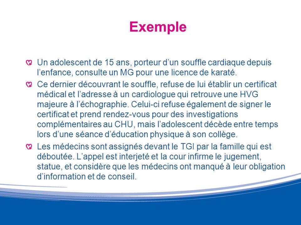 Exemple Un adolescent de 15 ans, porteur d'un souffle cardiaque depuis l'enfance, consulte un MG pour une licence de karaté.