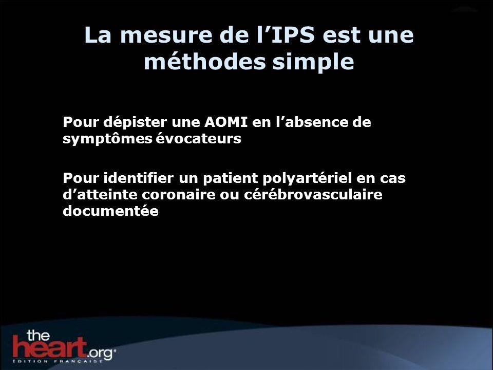 La mesure de l'IPS est une méthodes simple