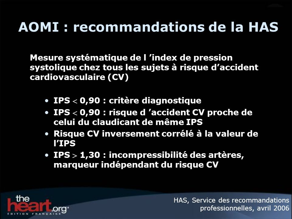 AOMI : recommandations de la HAS