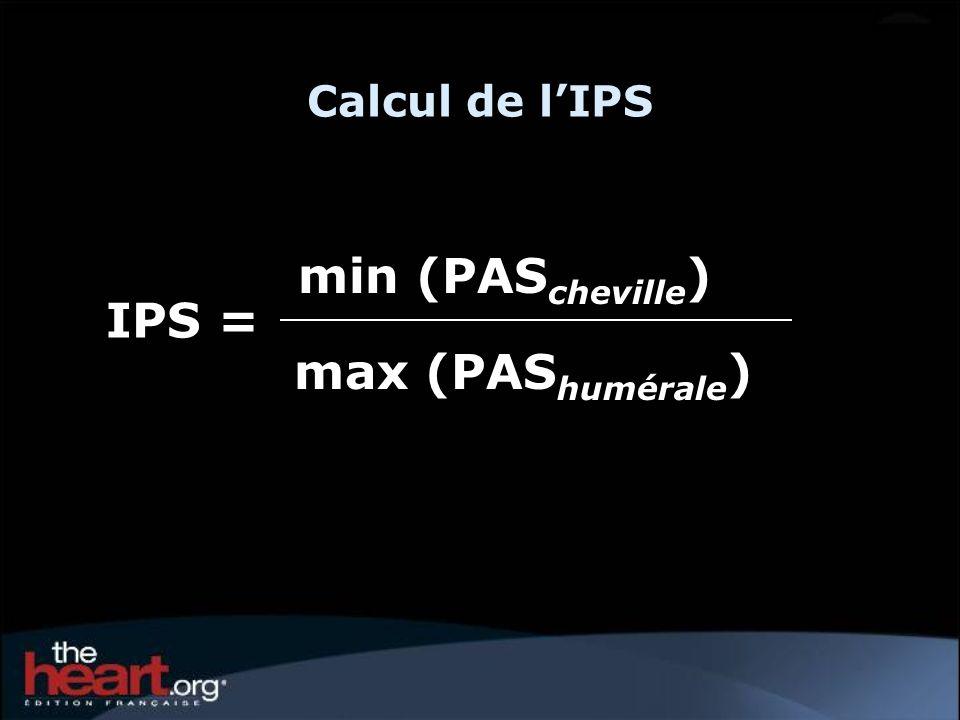 Calcul de l'IPS min (PAScheville) IPS = max (PAShumérale) 8