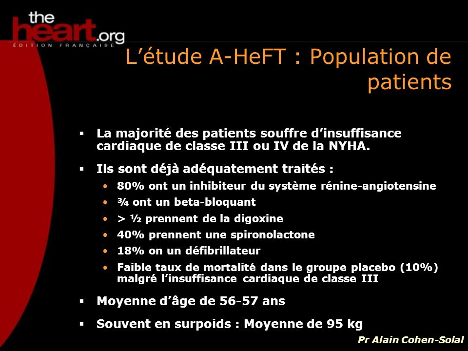 L'étude A-HeFT : Population de patients