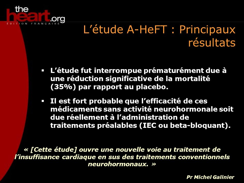 L'étude A-HeFT : Principaux résultats