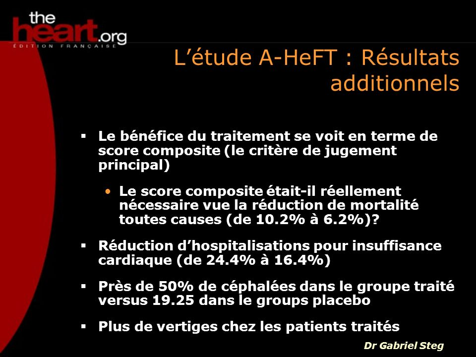 L'étude A-HeFT : Résultats additionnels
