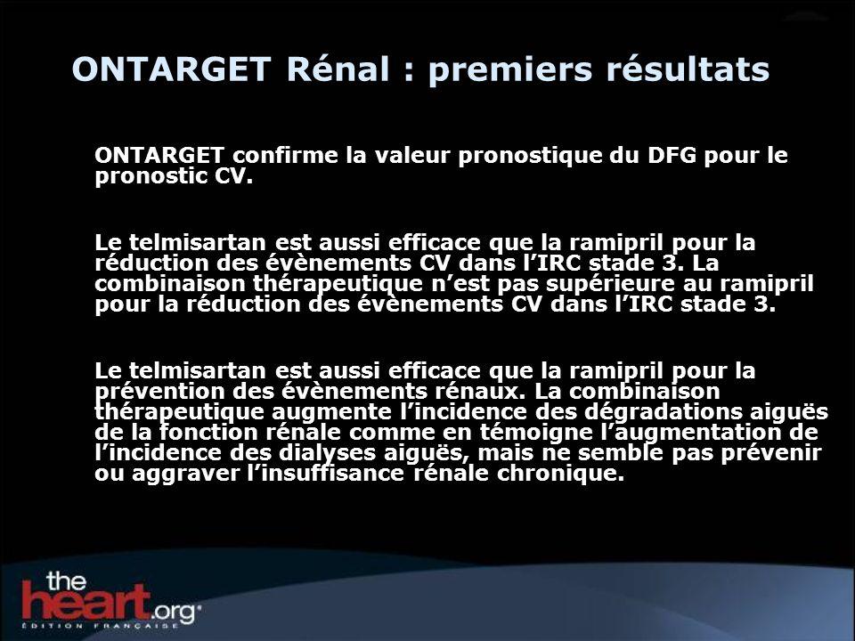 ONTARGET Rénal : premiers résultats