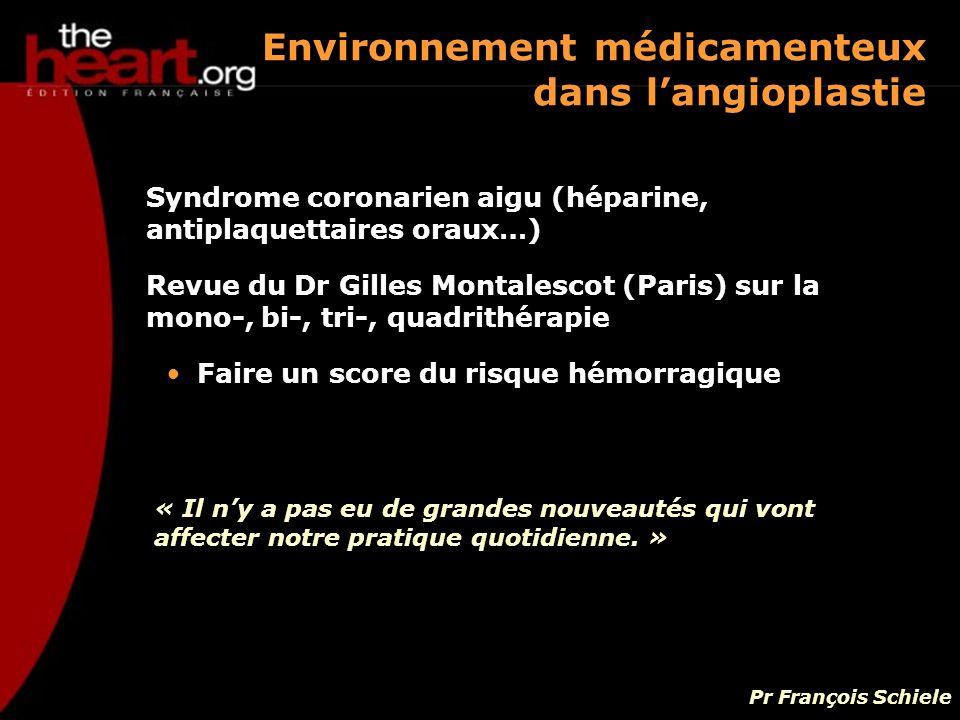 Environnement médicamenteux dans l'angioplastie