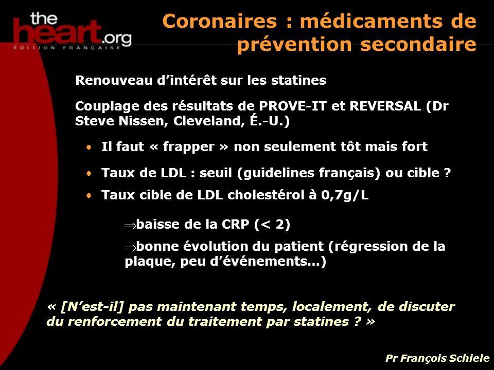 Coronaires : médicaments de prévention secondaire
