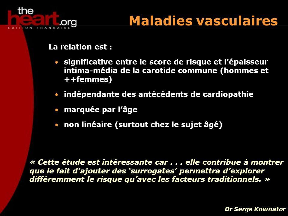 Maladies vasculaires La relation est :