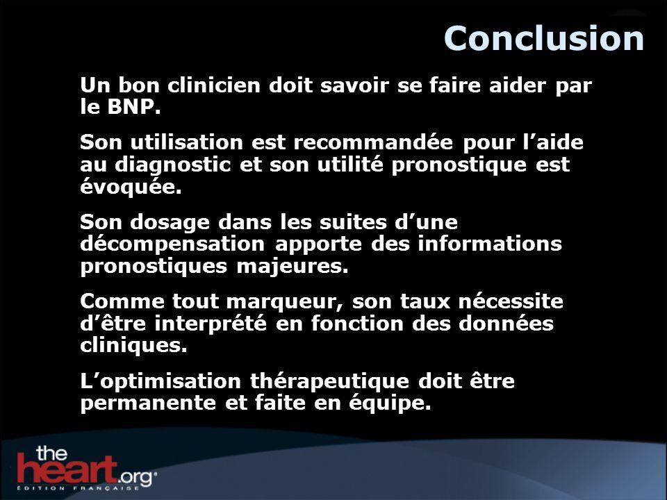 Conclusion Un bon clinicien doit savoir se faire aider par le BNP.