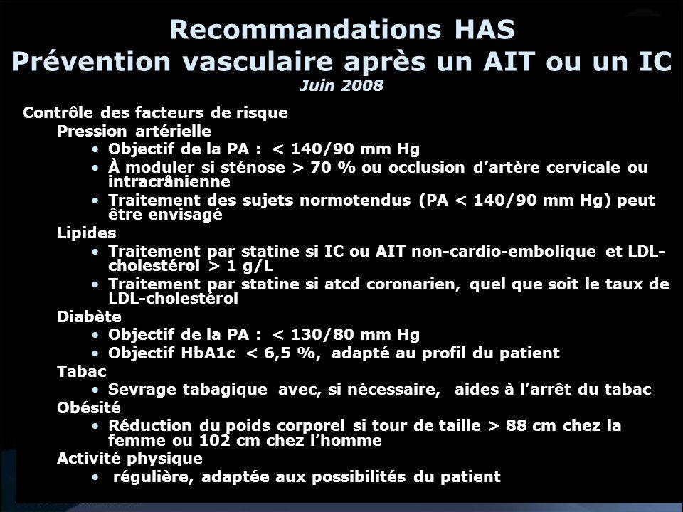 Recommandations HAS Prévention vasculaire après un AIT ou un IC Juin 2008