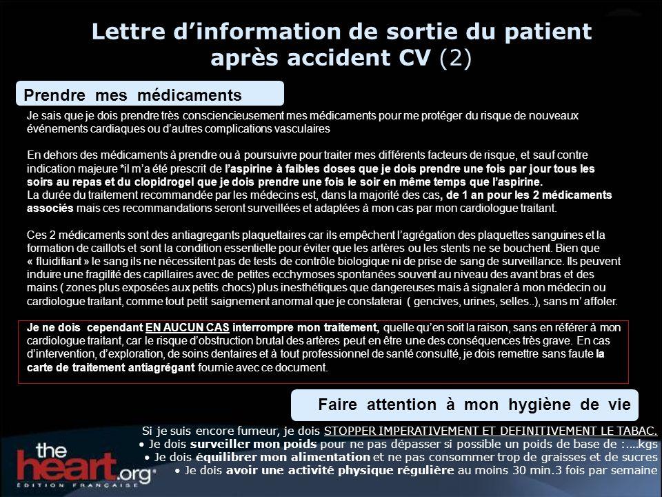 Lettre d'information de sortie du patient après accident CV (2)