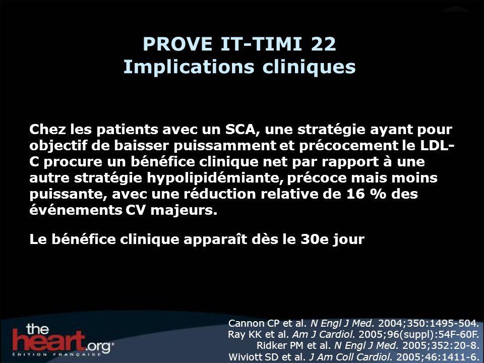 PROVE IT-TIMI 22 Implications cliniques