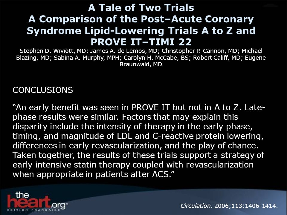 A Tale of Two Trials A Comparison of the Post–Acute Coronary Syndrome Lipid-Lowering Trials A to Z and PROVE IT–TIMI 22 Stephen D. Wiviott, MD; James A. de Lemos, MD; Christopher P. Cannon, MD; Michael Blazing, MD; Sabina A. Murphy, MPH; Carolyn H. McCabe, BS; Robert Califf, MD; Eugene Braunwald, MD
