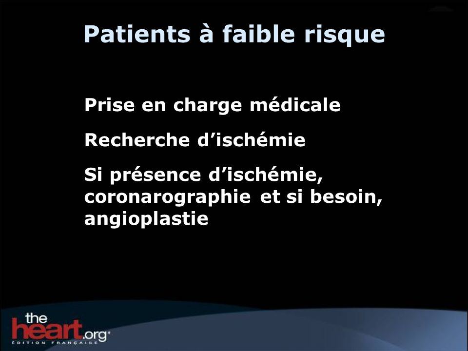 Patients à faible risque