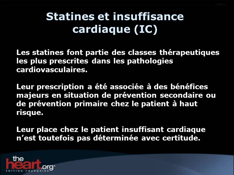 Statines et insuffisance cardiaque (IC)