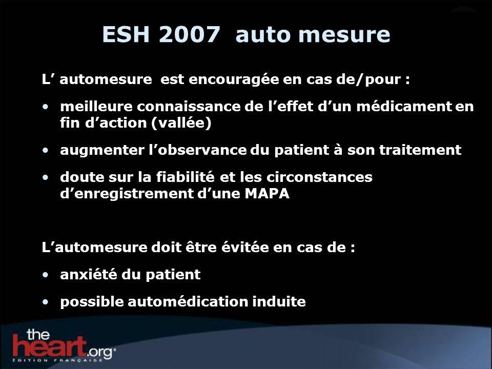 ESH 2007 auto mesure L' automesure est encouragée en cas de/pour :