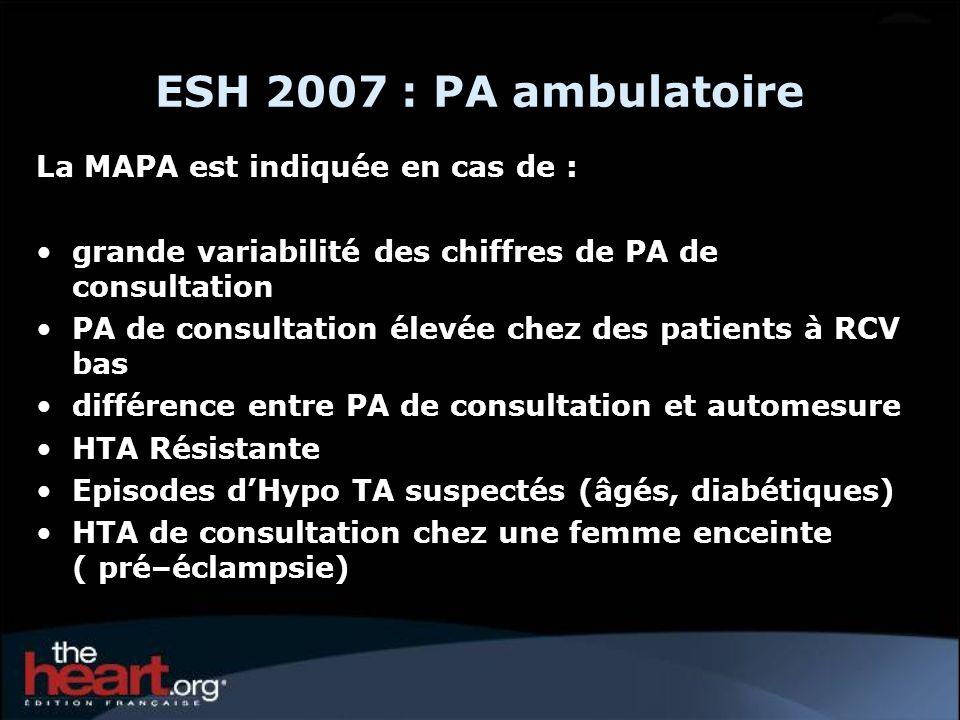 ESH 2007 : PA ambulatoire La MAPA est indiquée en cas de :