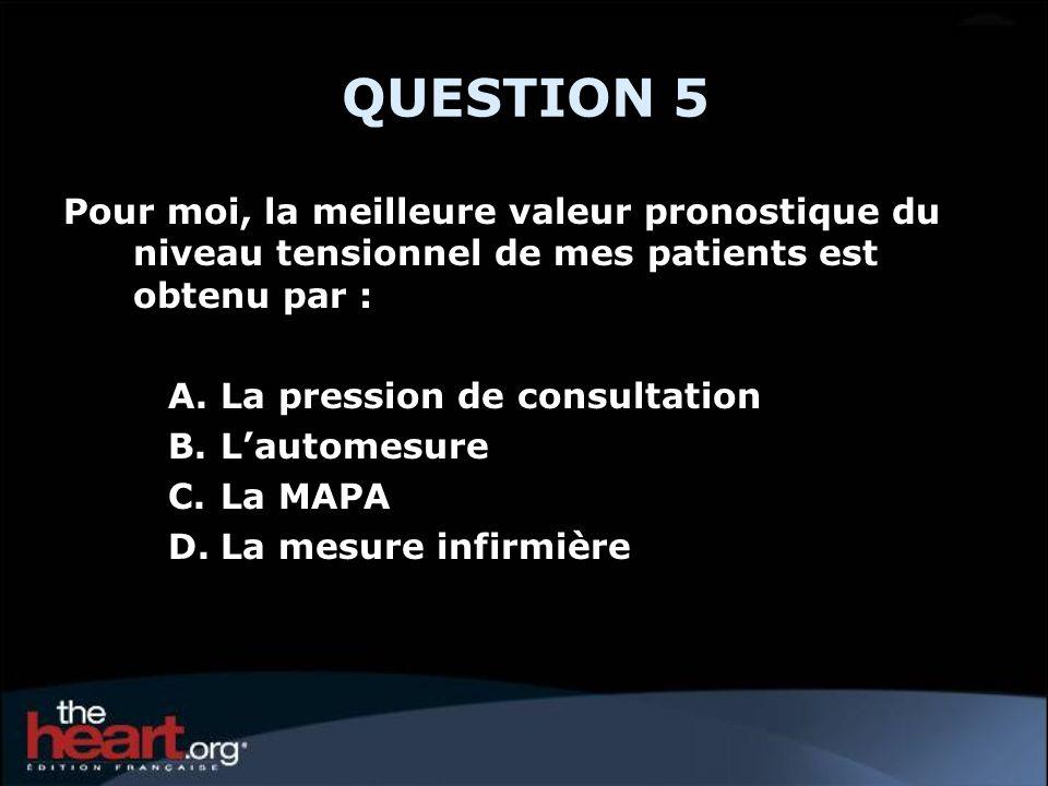 QUESTION 5 Pour moi, la meilleure valeur pronostique du niveau tensionnel de mes patients est obtenu par :