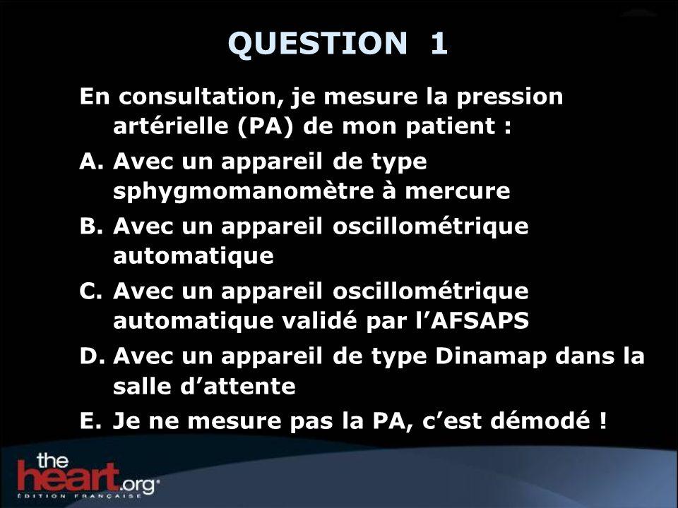 QUESTION 1En consultation, je mesure la pression artérielle (PA) de mon patient : Avec un appareil de type sphygmomanomètre à mercure.