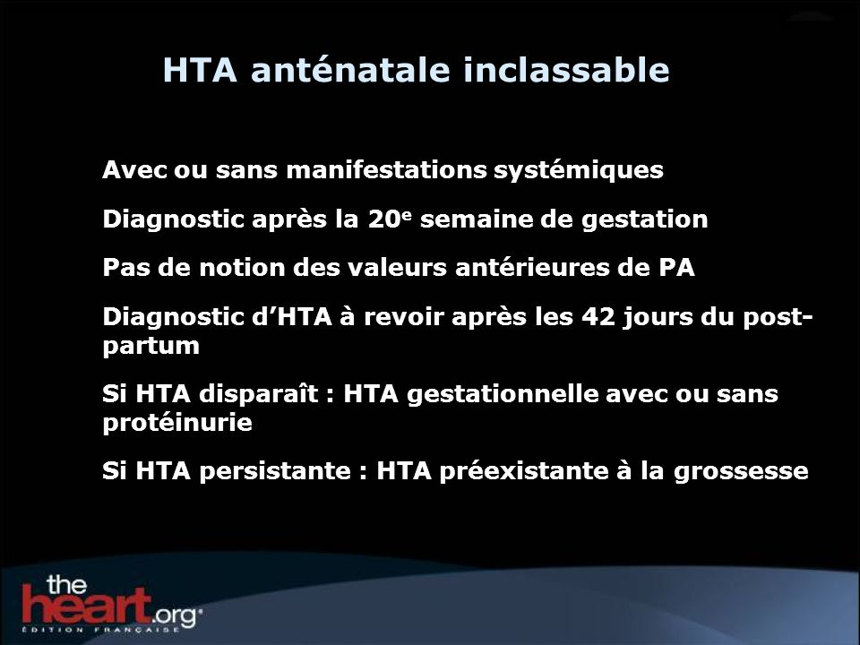 HTA anténatale inclassable