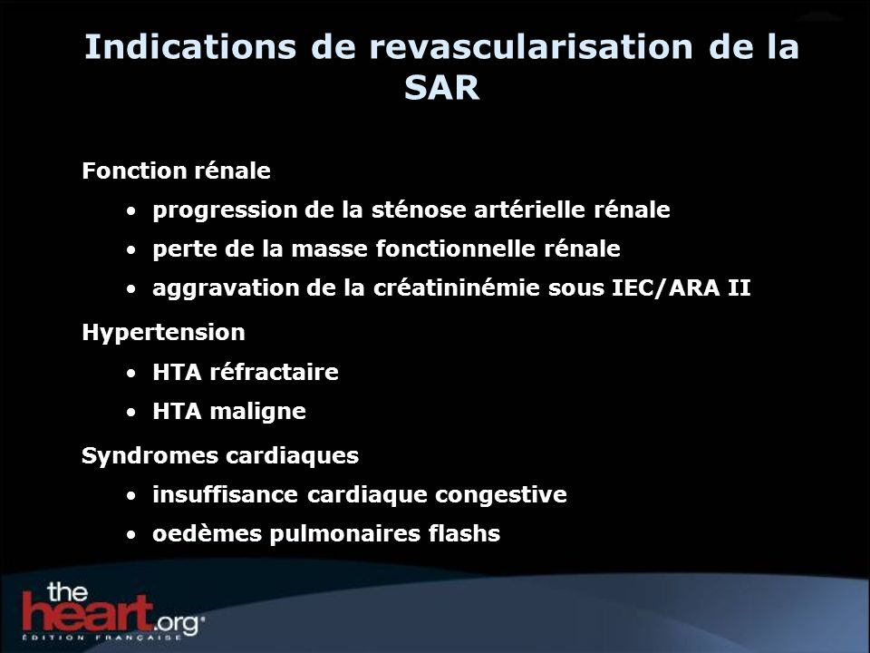 Indications de revascularisation de la SAR